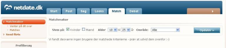 NetDate.dk - Ikke flere match